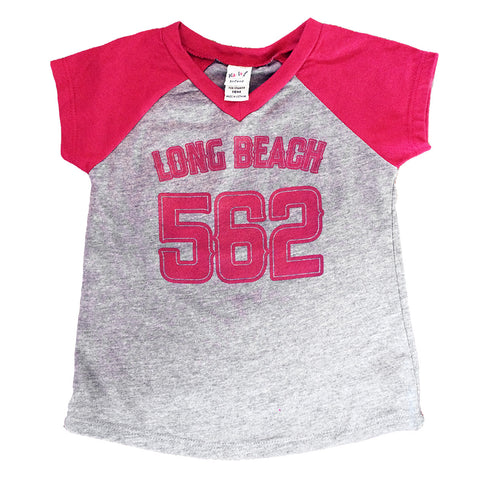 Long Beach 562 Grey/Maroon Toddler Raglan Baseball T-Shirt