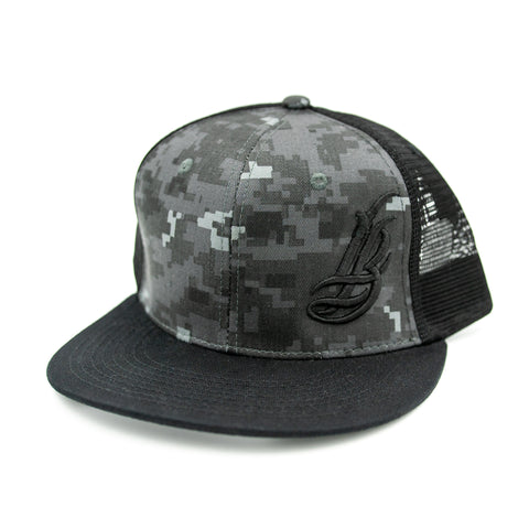 Cursive LB Dark Grey/Black Digital Camo Trucker Hat