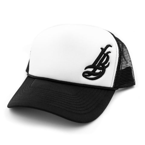 Cursive LB White/Black Trucker Dad Hat