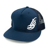 Cursive LB White On Navy Trucker Hat