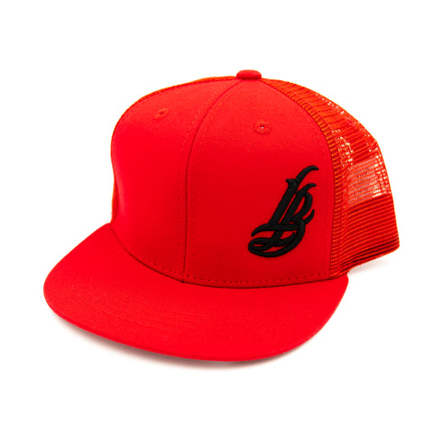 Cursive LB Black On Red Youth Trucker Snapback
