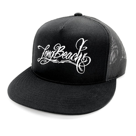 Long Beach Script Black Trucker Hat