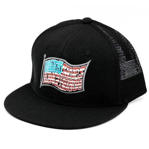United States of Long Beach Black Trucker Snapback