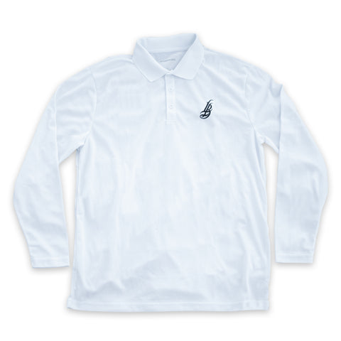 Cursive LB Men's White Performance Polo Long Sleeve T-Shirt