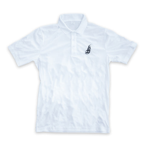 Cursive LB Men's White Performance Polo T-Shirt