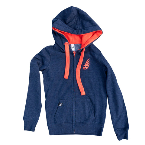 Cursive LB Fat Lace Navy/Orange Women's Zip Up Hoodie