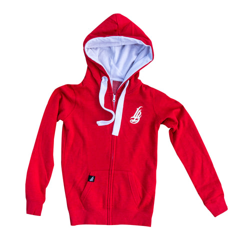 Cursive LB Fat Lace Red/White Women's Zip Up Hoodie