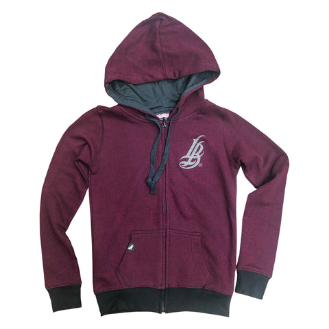 Cursive LB Burgundy & Black Heather Women's Zip Up Hoodie