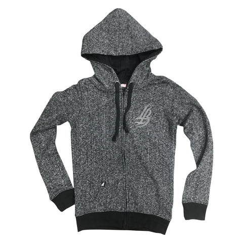 Cursive LB Charcoal Heather Women's Zip Up Hoodie