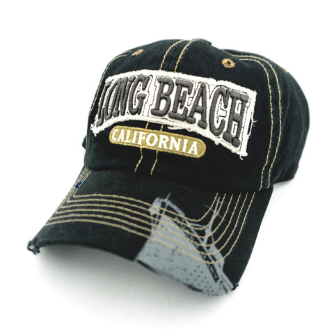 Weathered Long Beach Black Adjustable Dad Hat