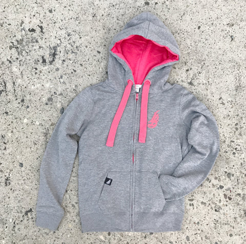 Cursive LB Fat Lace Heather/Pink Women's Zip Up Hoodie