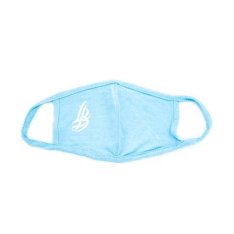 Cursive LB Light Blue Fitted Mask