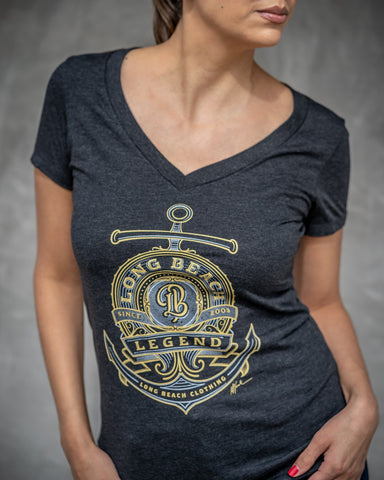 Long Beach Legend Vintage Black Women's V-Neck