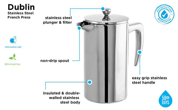 French Press: GROSCHE Dublin SS press - 1000ml/34 fl. oz/8 cup - Lions Bay Coffee Company Inc.