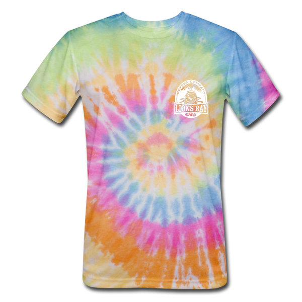 Stylin' with the Lion. Tie Dye T-Shirt - Lions Bay Coffee Company Inc.