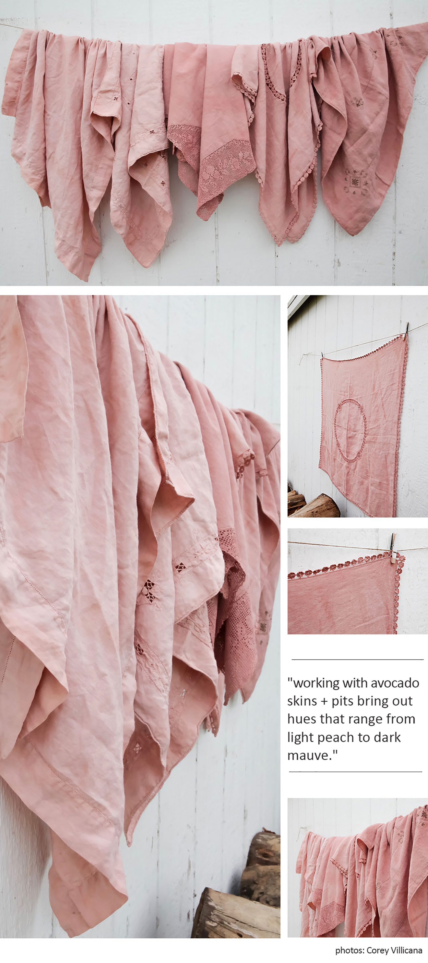 Vintage Linens made modern with a injection of color from Avocado Skins