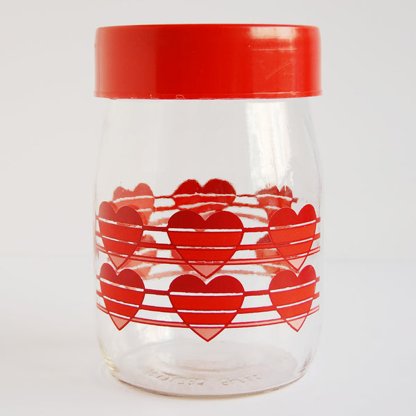 """Ombre Hearts"" 1980s Glass Heart Jar"