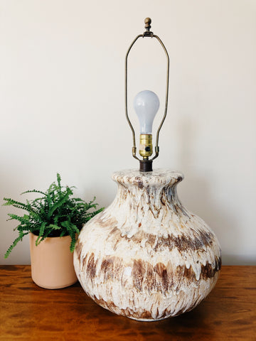 """Ice Cream Sundae"" Mid Century Drip Glaze Large Lamp"