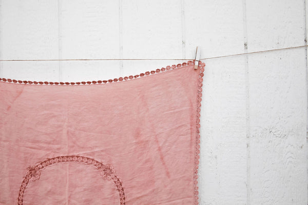 """Mila"" vintage linen throw"