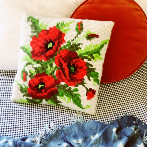 """Poppy"" vintage crewel floral pillow"