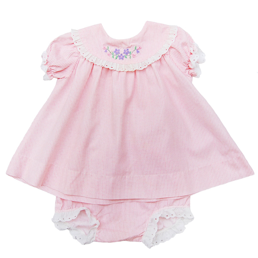 """Lola"" baby girl vintage dress + bloomer set"
