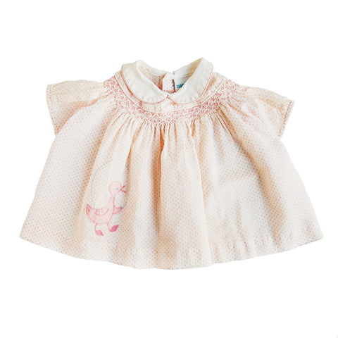 """pink duck"" vintage baby girl dress"