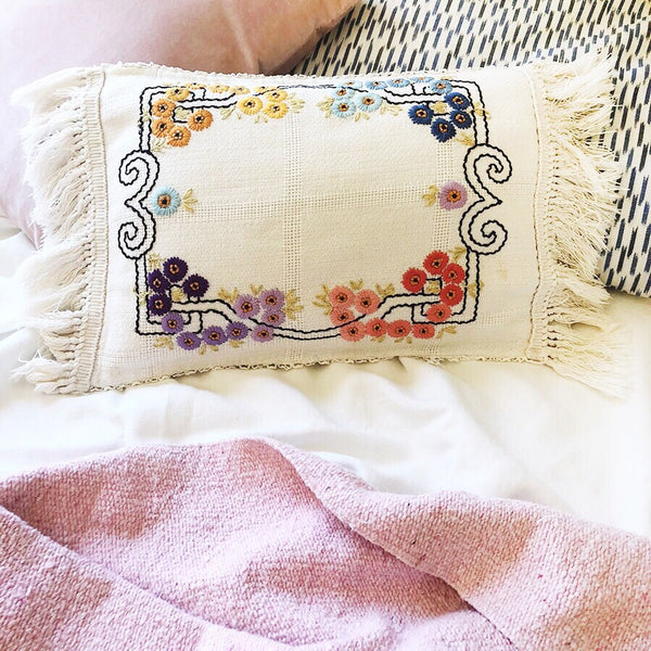 """Perry"" Vintage Fringed Pillow Cover"