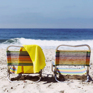 """Double Rainbow""  Vintage Aluminum Beach Chairs"