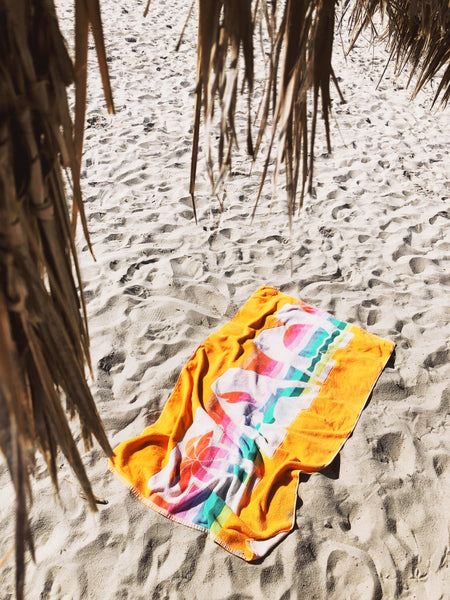 """Tan"" vintage beach towel"