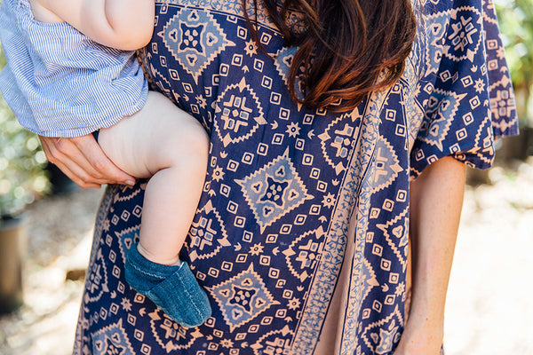 """Indigo"" baby booties 