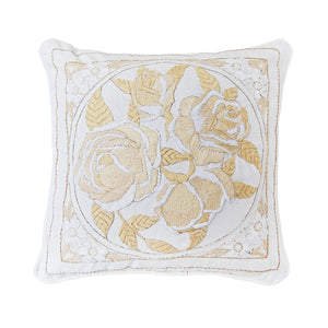 """Boho Rose"" vintage hand ebroidered pillow"