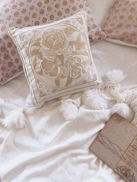 """Rosie"" neutral decor vintage crewel pillow"