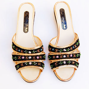 Vintage 1960s black beaded velvet wedge slides (size 9)