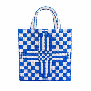 """Jilly"" Checkerboard + Stripes Crewel Tote Bag"