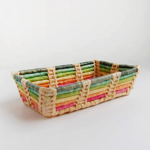 """Rainbow Bright"" vintage coil basket tray"
