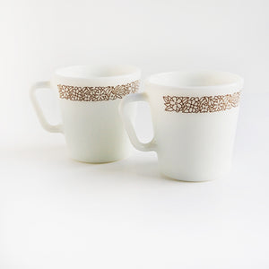 """Woodland"" Pair of vintage Woodland Pyrex mugs"