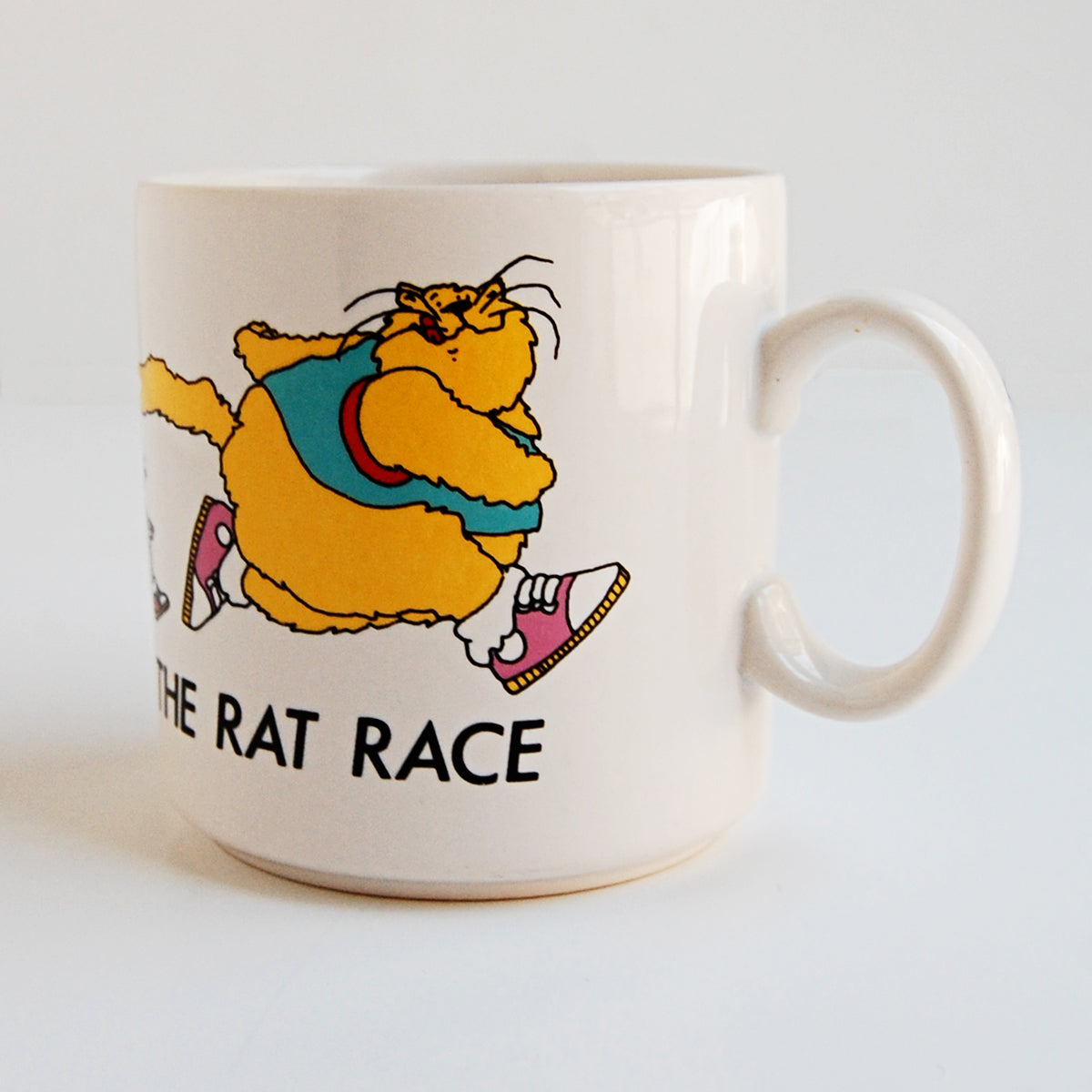 """Welcome to the Rat Race"" vintage coffee mug"