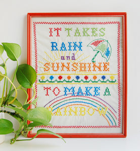 """How to Make a Rainbow"" Vintage Cross Stitch Framed Art"