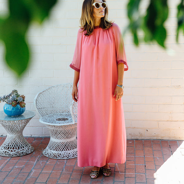 """Power to the Pink"" vintage maxi lounge dress"