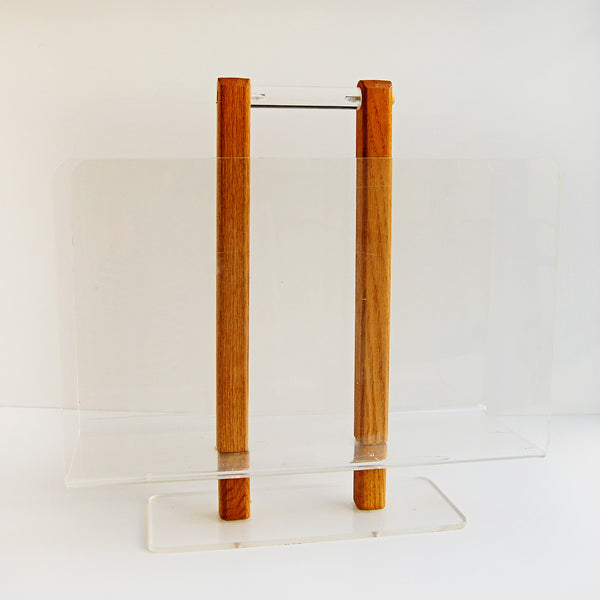 Mid Century Lucite and Wood Magazine Rack