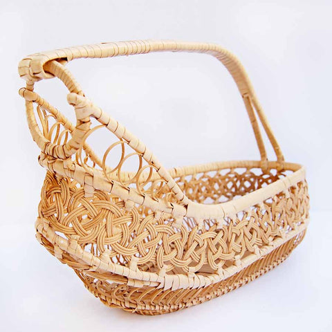 Vintage Woven Straw + Rattan Bottle Basket