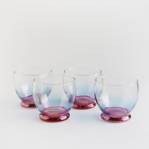 """Grape Day"" Ombre Vintage Low Ball Glasses"