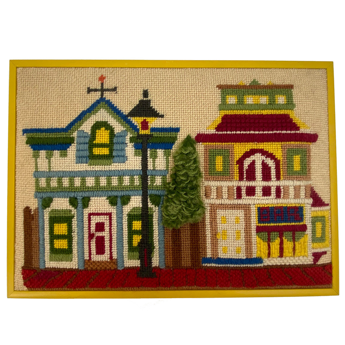 """Old Town"" 1970's San Diego Needlepoint"