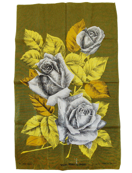 """White Rose"" vintage linen tea towel"