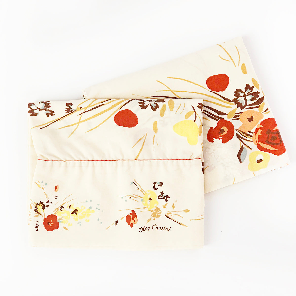 """Dried Florals"" vintage Oleg Cassini pillowcases"
