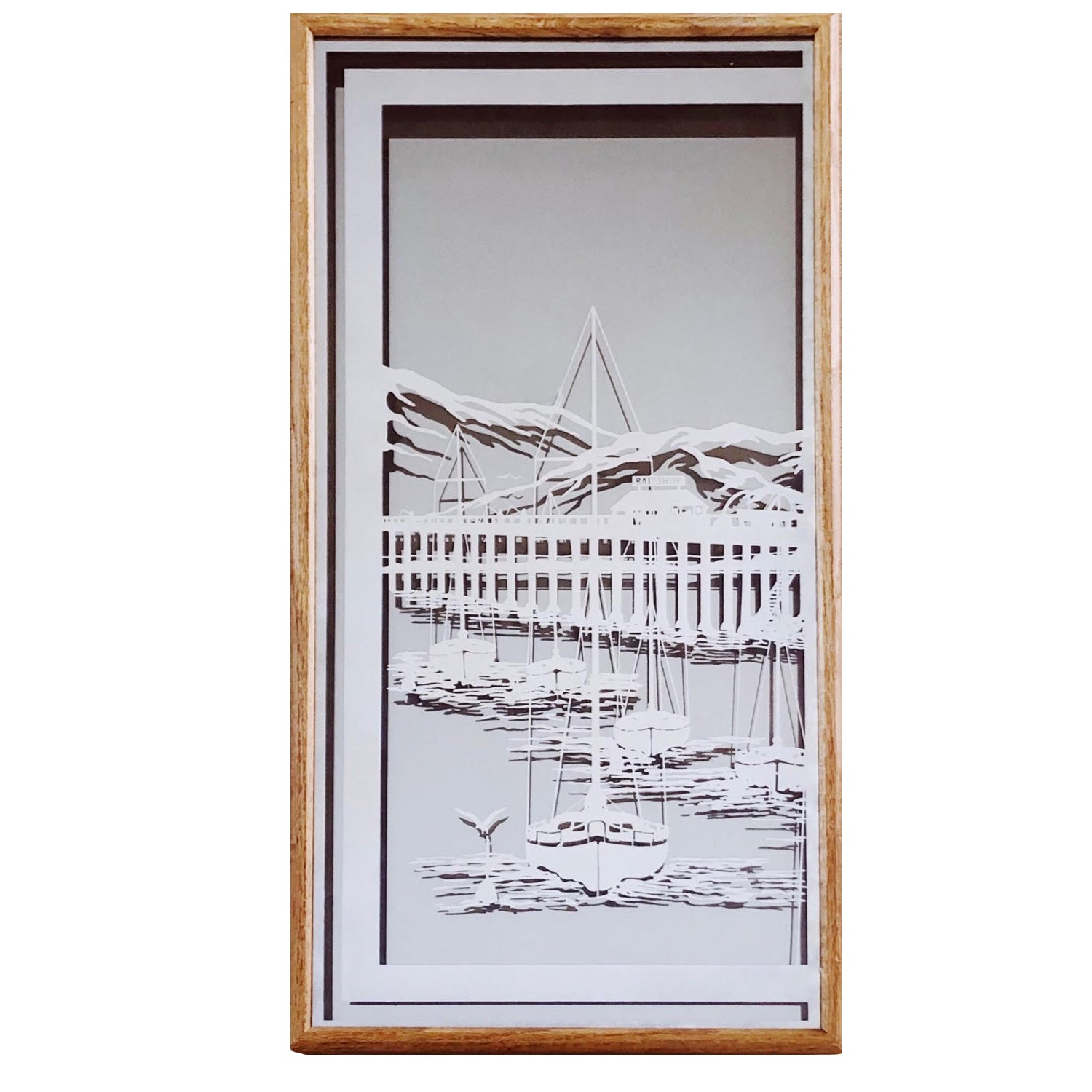 """Sail Away"" 1970s Frosted Mirror a"