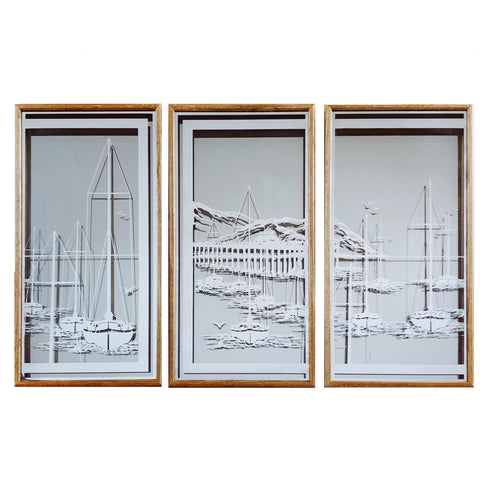 """Sail Away"" 1970s Frosted Mirrors with Sailboat Scenes in Oak frame"