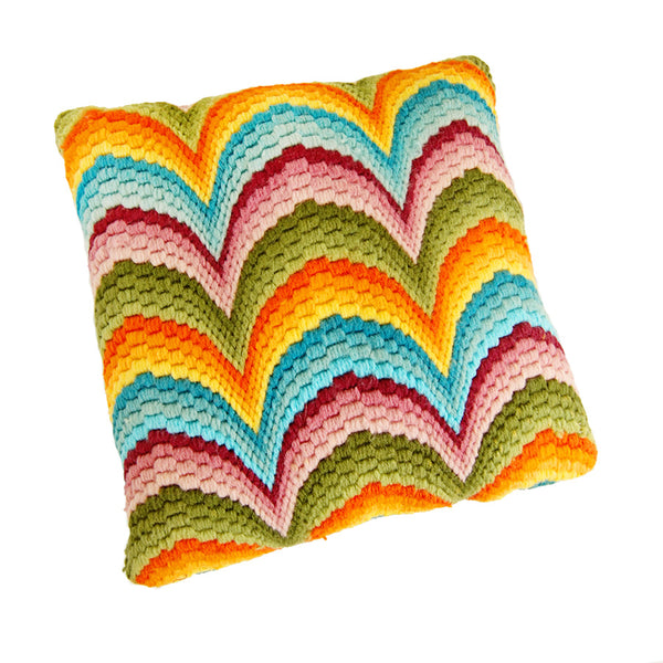 1970's Rainbow Bargello Pillow