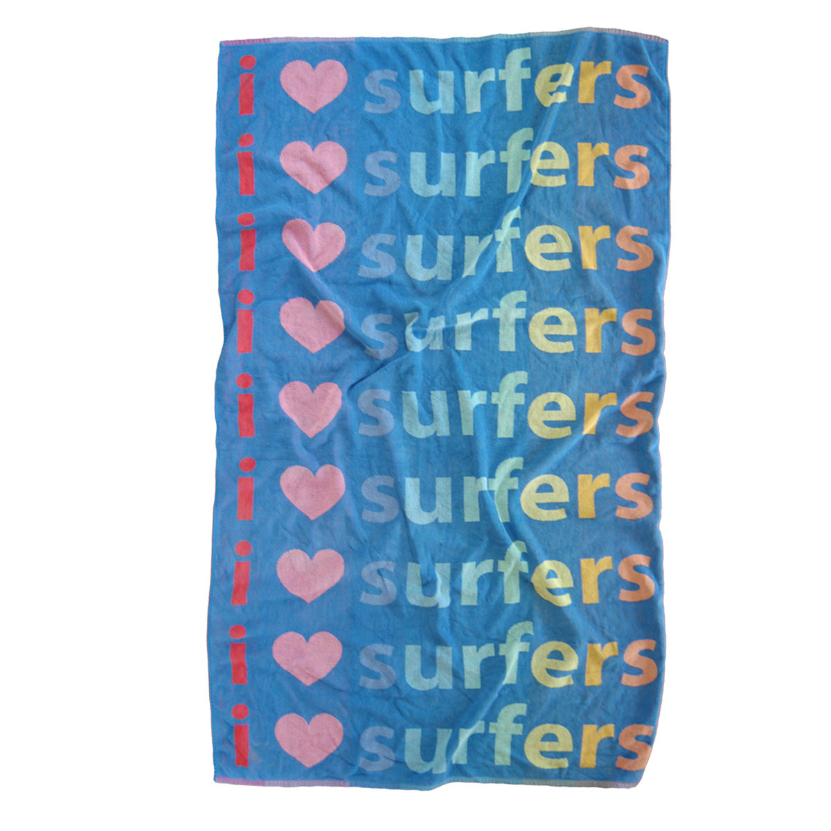 """I heart surfers"" vintage beach towel"