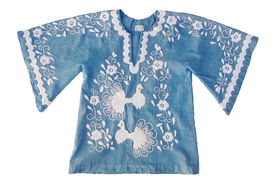 1970s Embroidered Peacocks Vintage Chambray Tunic Top